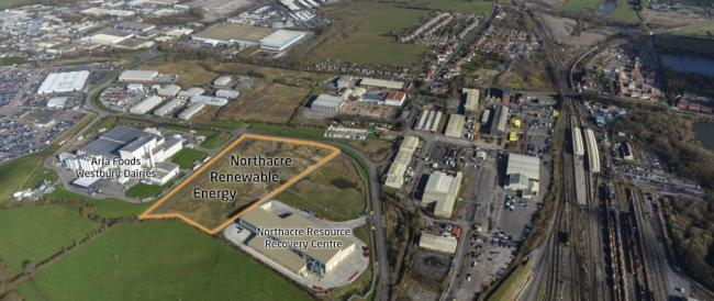 An aerial view of the Northacre Renewable Energy site in Westbury