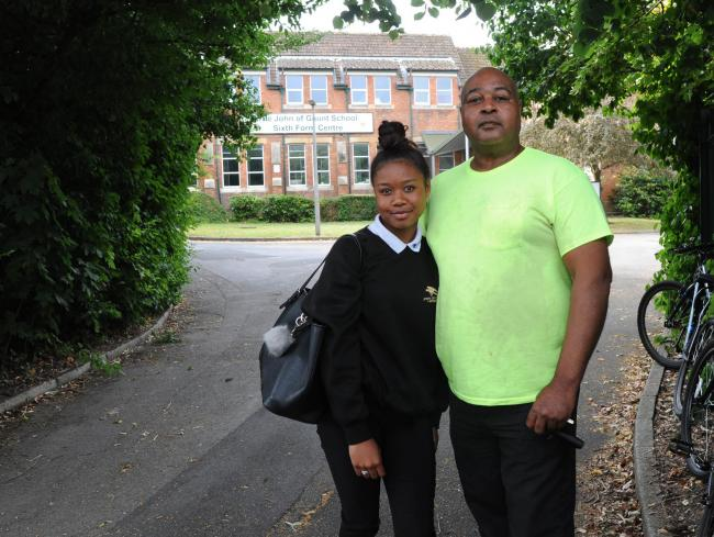 Mervyn King with his daughter Arena who was attacked at John of Gaunt school. 60451  Photo Trevor Porter.John of Gaunt School violence..