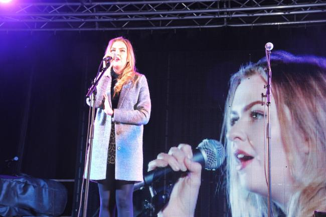 Local singer Molly Green performs at last year's Westbury Christmas Lights switch on Photo: Trevor Porter 60093/5