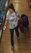 CCTV still of the woman police want to speak to about a shopping trolley theft Picture: WILTSHIRE POLICE