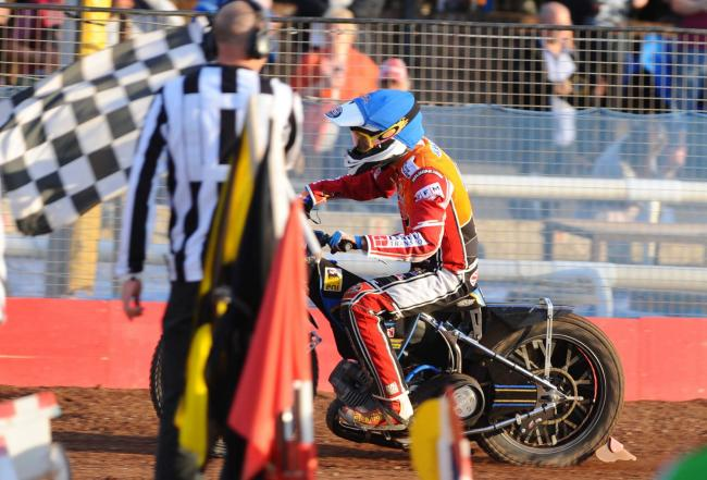 Swindon Robins v Wolves     Pic Dave Evans  18/7/2019.Rasmus Jensen wins heat five.