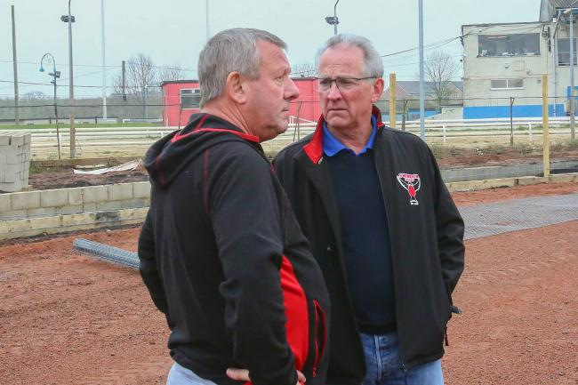 Chairman Terry Russell and Steve Parks discuss the latest track work. PICTURE: Les Aubrey