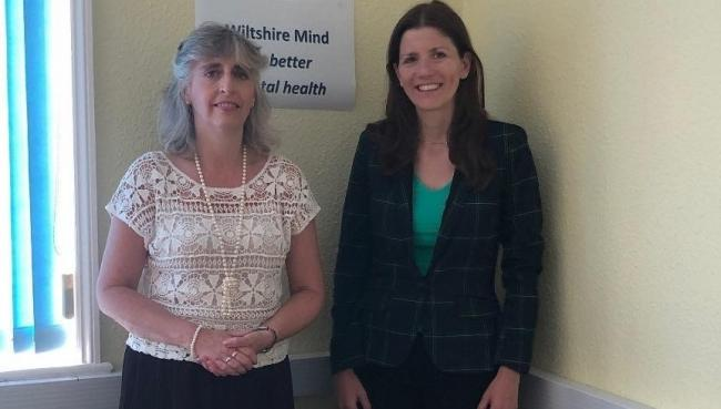 Michelle Donelan MP (right) with Carolyn Beale, CEO of Wiltshire MIND
