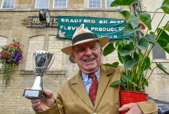 John Potter with a new trophy for this  years Bradford on Avon Flower & Produce Show on September 8th.  Photo by www.gphillipsphotography.com GP1738