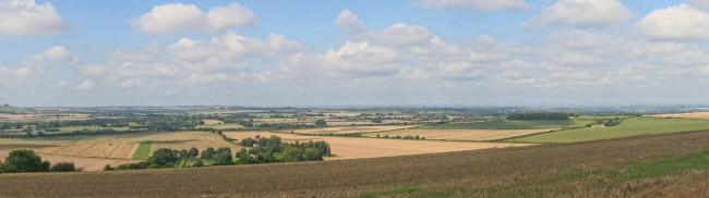 The site for a proposed development of up to 30 houses, with Chiseldon visible in the distance