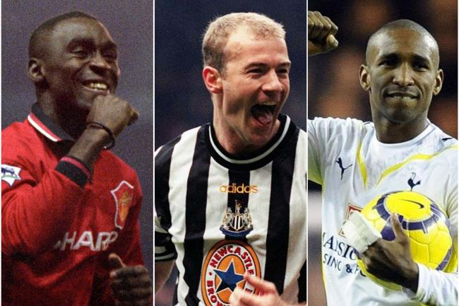 Andy Cole, Alan Shearer and Jermain Defoe, l-r