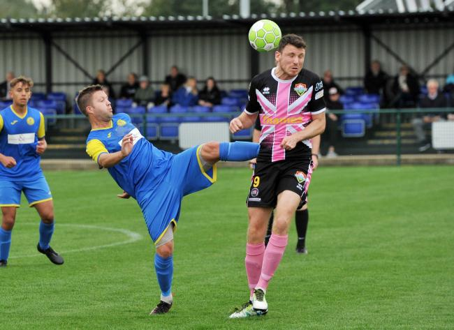 Football, Royal Wootton Bassett Town v Windsor at Royal Wootton Bassett Town FC..Pic - Cane Bradbury ( Bassett ) -left .Date 6/10/19.Pic By Dave Cox.