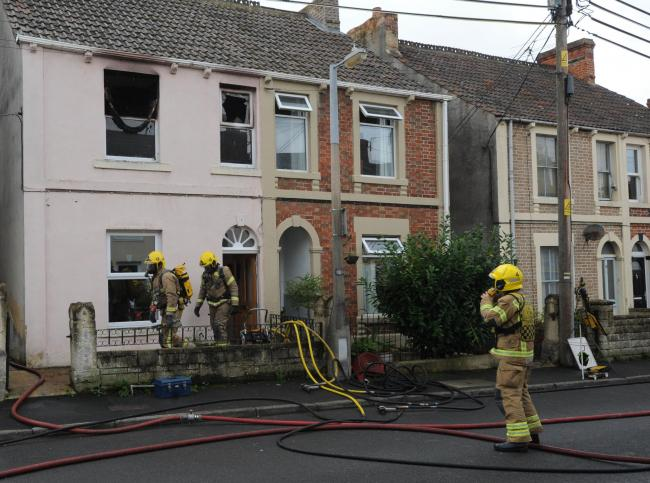 Firefighters from Trowbridge, Bradford on Avon, Warminster and Corsham tackled the house fire in West Street       Photo Trevor Porter
