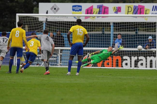 Luke Hopper's penalty beats the Concord Rangers goalkeeper to give Chippenham Town victory. PICTURE: RICHARD CHAPPELL