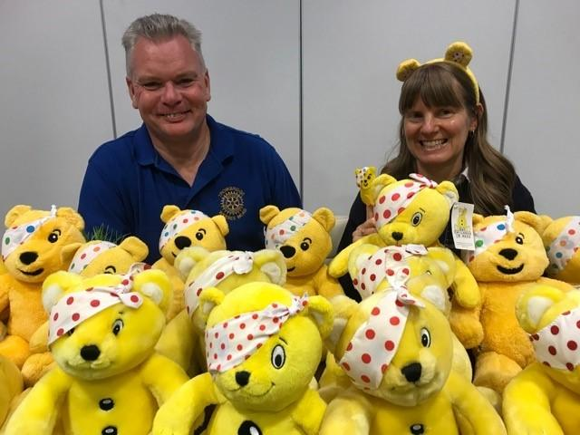 Trowbridge Wessex Mead Rotarians Andy Barlow and Caroline Christopher hope to raise more than £2,500 for BBC Children in Need Appeal