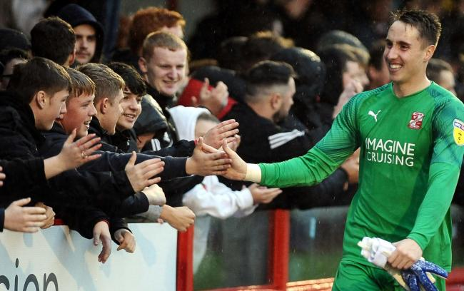 Swindon Town goalkeeper Steven Benda has been a hit with fans since he made his debut at the start of October. 					                   PHOTO: Dave Evans