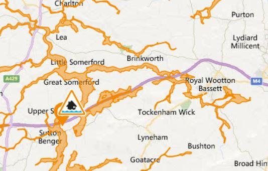 The flood alerts near Wootton Bassett