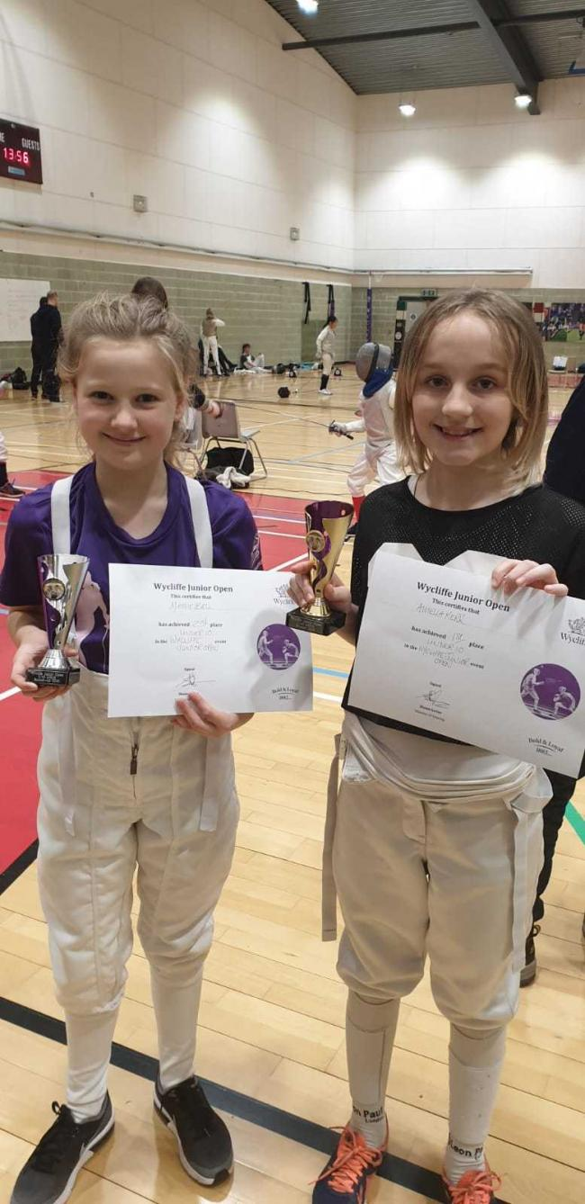Swindon Fencing Club's Amelia Kerr and Maisie Belle
