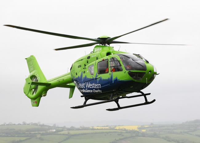 An air ambulance has been sighted at the scene