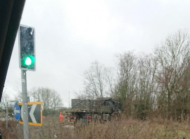 The lorry ploughed quite a long way into the shrubbery on the roundabout