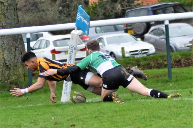 Kane Marafono touches down for his second try during Marlborough's comfortable win over Wimborne at the weekend