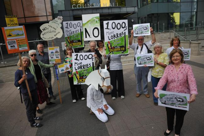 Incinerator Protest. Margaret Cavanna with fellow protestors at County Hall in Trowbridge concerned about the proposed Incinerator and Waste Sorting station plans.Photo;Trevor Porter 59739 4..