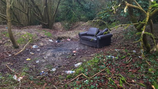 SHOCKING: the mess left on top of a badger sett at Conygre Mead