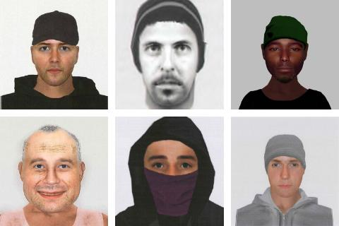 The e-fit portraits released in 2019 and 2020 by Wiltshire Police