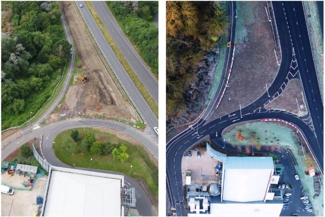 Before and after - work at Mannington Roundabout in Swindon