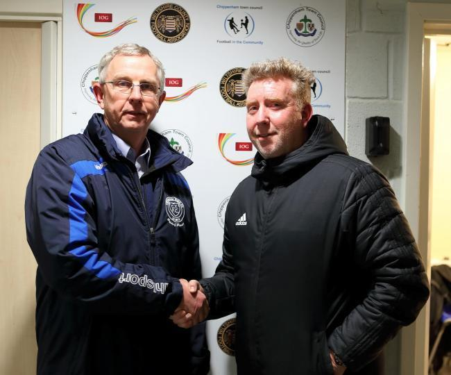 Mike Cook (right) was first unveiled as Chippenham Town manager in January 2020 before being handed the position full time in March