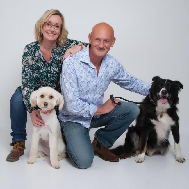 Ruth and Peter Doyle, from Lyneham, with their rescue dogs Lily and Collie, Bailey,