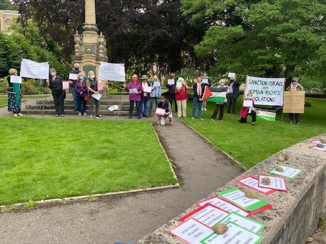 Members of Bradford on Avon Friends of Palestine stage a protest on Saturday over the annexation of land on Israel's West Bank