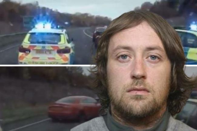 Patrick Jones and footage from the police chase Picture: WILTSHIRE POLICE