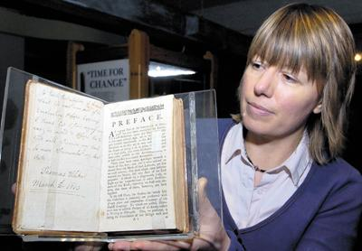 This Is Wiltshire: Trowbridge Museum curator Claire Lyall with Thomas Helliker's last letter