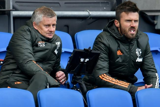 Manchester United manager Ole Gunnar Solskjaer, left, and first-team coach Michael Carrick were given plenty to ponder at Brighton