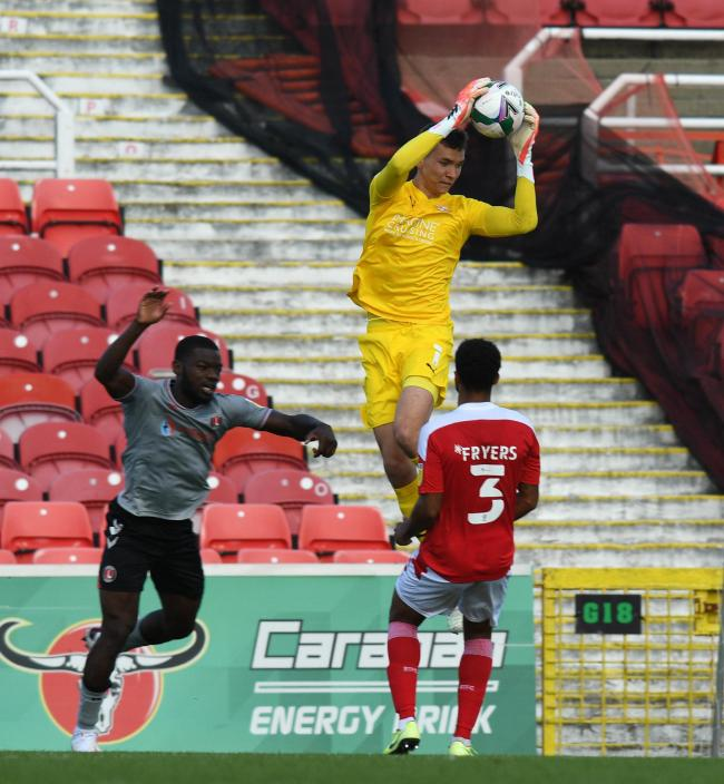 Swindon goalkeeper Matej Kovar collects during the match between  Swindon Town and Charlton Athletic  at The County Ground Stadium , Swindon, England on Saturday the 5th of September 2020. Carabao Cup, League Cup, Round one, Photo by Rob Noyes..