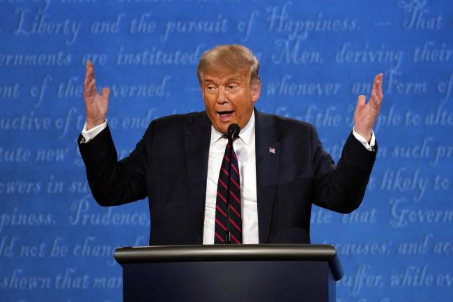 President Donald Trump speaks during the first presidential debate with Democratic presidential candidate former Vice President Joe Biden Tuesday, Sept. 29, 2020, at Case Western University and Cleveland Clinic, in Cleveland. (AP Photo/Julio Cortez).