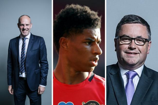 Justin Tomlinson MP, Marcus Rashford and Robert Buckland MP Pictures: HOUSE OF COMMONS/PA