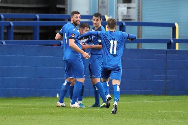 The Chippenham Town players celebrate Brad Ash's first-half goal in the weekend defeat to Ebbsfleet United at the Thornbury Surfacing Stadium		          Photo: Richard Chappell