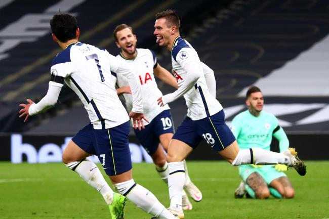 Giovani Lo Celso, right, scored his first Premier League goal in Tottenham's 2-0 win over Manchester City