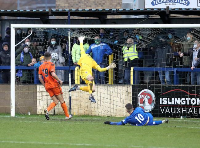 Eddie Jones' cross is deflected over Bath City goalkeeper Will Henry by his own defender as Chippenham Town open the scoring during the A4 derby on Boxing Day Photo: Richard Chappell
