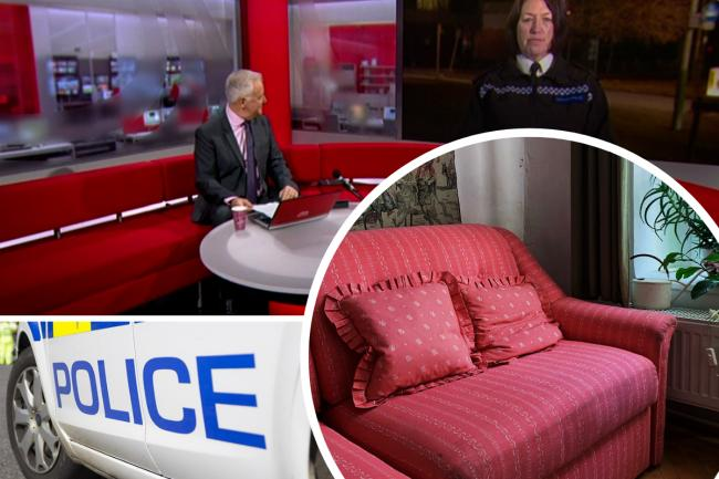 Composite image showing: David Garmston and ACC Deb Smith, a police stock image and a sofa Pictures: BBC/ADVER/PEXEL