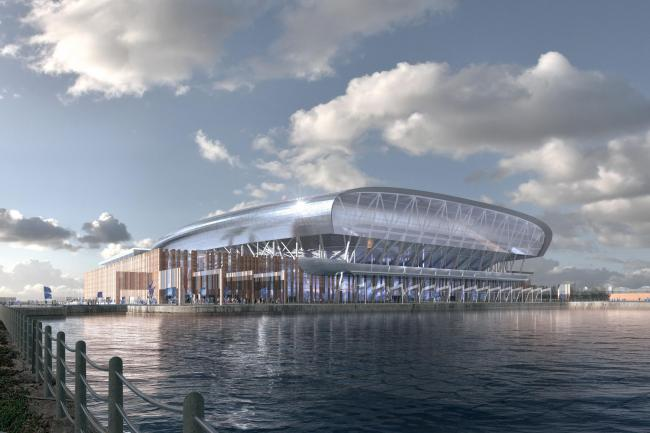 Artist's impression of Everton's new stadium at Bramley-Moore Dock