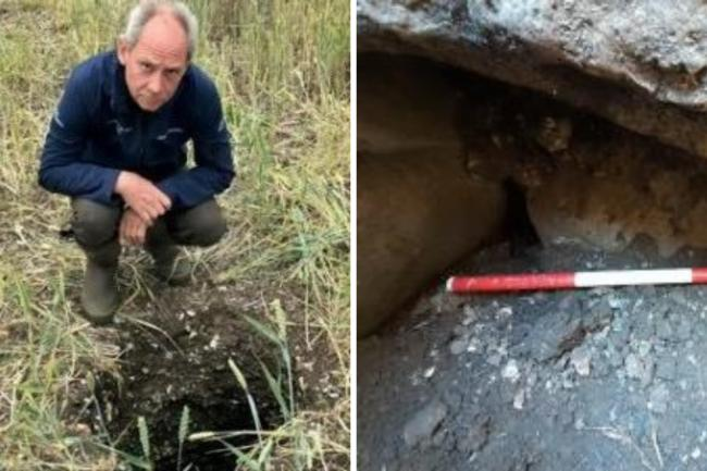 James Cameron at the site of the tomb in East Kennett (left) and exposed lintel at the tomb (right)