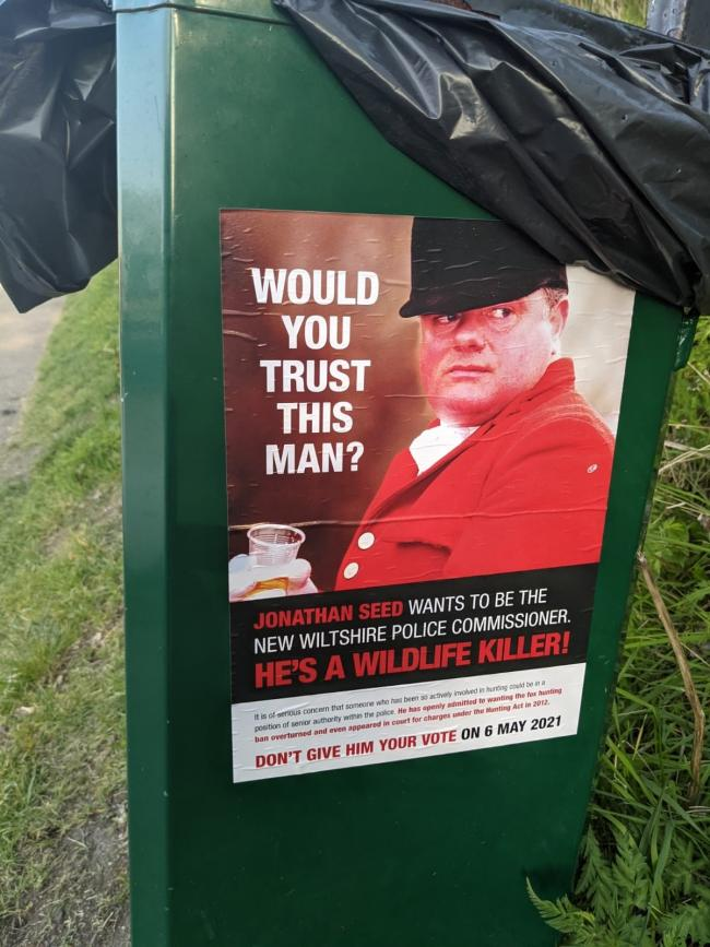 One of the dozens of posters put up around Devizes