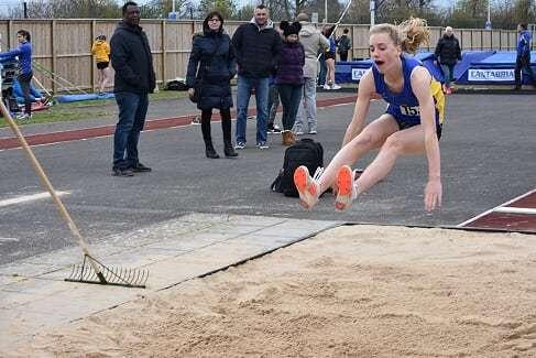 North wraxhall all-rounder Alice Wilson in long-jump action