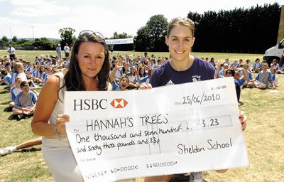 Gold medal winner Amy Williams hands over the cheque to Christine Lamb in memory of Hannah Owen	       (31955/08)