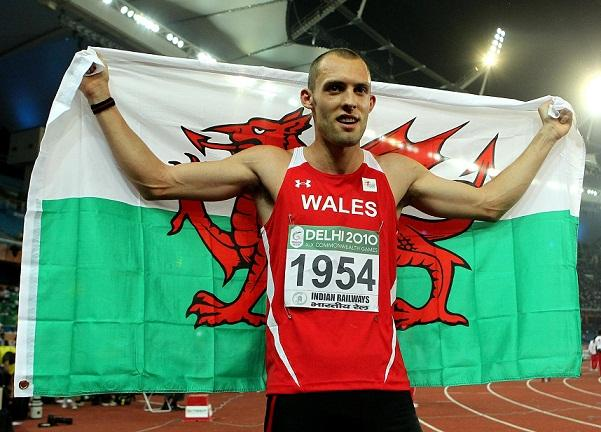 This Is Wiltshire: Dai Greene celebrates his 400m hurdles victory at the Commonwealth Games in Delhi four years ago