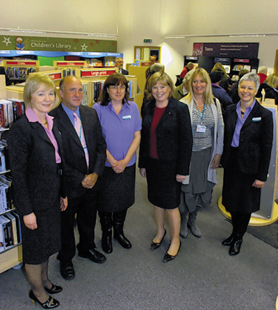 Jane Scott, centre, at the opening of Pewsey library