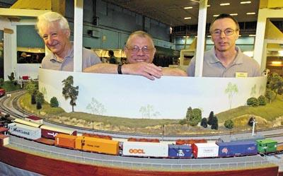 Keith Townsend, Ian Powell and Iain Sandell with their exhibit at the Trainwest show