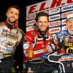 Scott Nicholls, left, on the podium with winner Rory Schlein and Freddie Lindgren. Picture: Les Aubrey