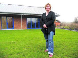 This Is Wiltshire: Debby Wilkinson outside the new White Horse Yoga Centre                                                    (38407) PICTURE BY lewis cowen