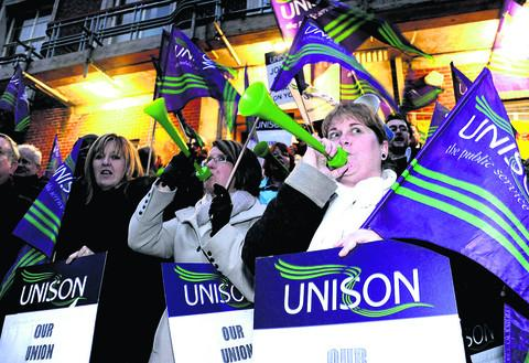 This Is Wiltshire: UNISON members protesting