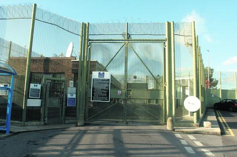This Is Wiltshire: The three people were apprehended by Wiltshire Police outside Erlestoke Prison