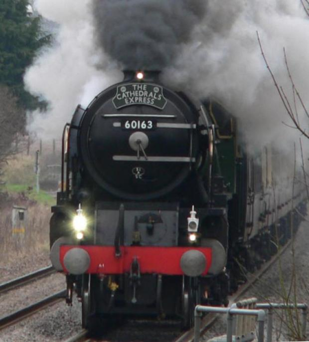 The Tornado pulls the Cathedrals Express through Pewsey